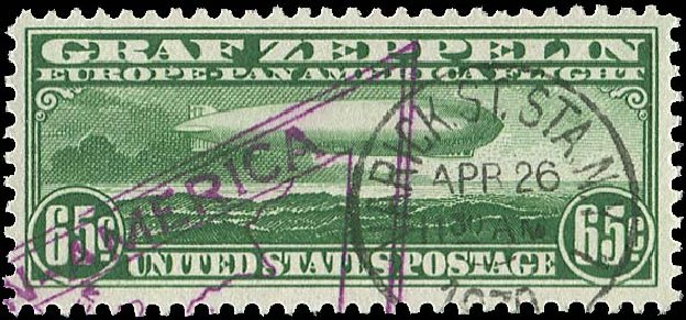US Stamp Prices Scott Catalogue # C13: 65c 1930 Air Graf Zeppelin. Regency-Superior, Jan 2015, Sale 109, Lot 1417