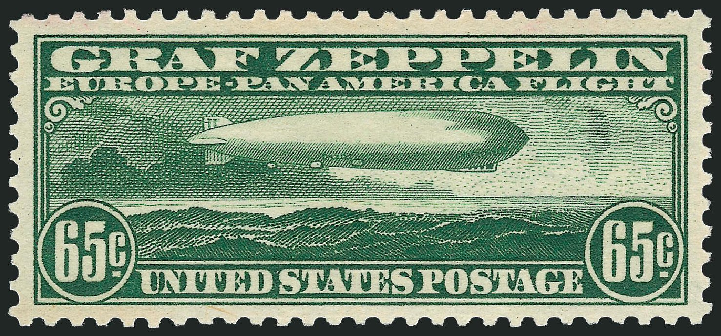 Costs of US Stamps Scott Catalogue C13 - 1930 65c Air Graf Zeppelin. Robert Siegel Auction Galleries, Sep 2008, Sale 962, Lot 2957