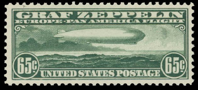 Value of US Stamp Scott Catalogue # C13 - 1930 65c Air Graf Zeppelin. Daniel Kelleher Auctions, May 2015, Sale 669, Lot 3248
