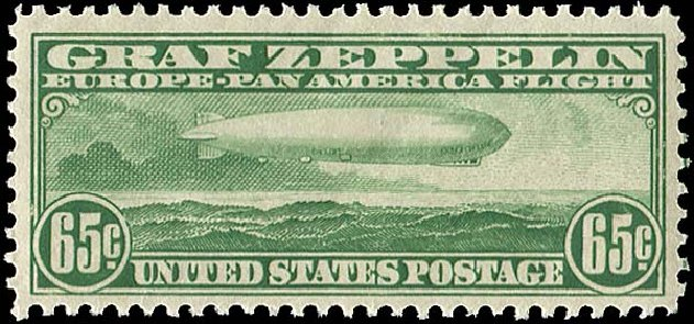Values of US Stamp Scott Cat. # C13: 1930 65c Air Graf Zeppelin. Regency-Superior, Nov 2014, Sale 108, Lot 1098