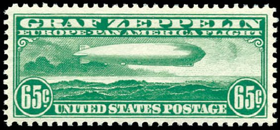 US Stamp Prices Scott Catalogue #C13: 65c 1930 Air Graf Zeppelin. Schuyler J. Rumsey Philatelic Auctions, Apr 2015, Sale 60, Lot 2478