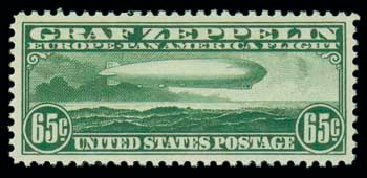 Value of US Stamps Scott #C13: 1930 65c Air Graf Zeppelin. Matthew Bennett International, Dec 2007, Sale 325, Lot 2359