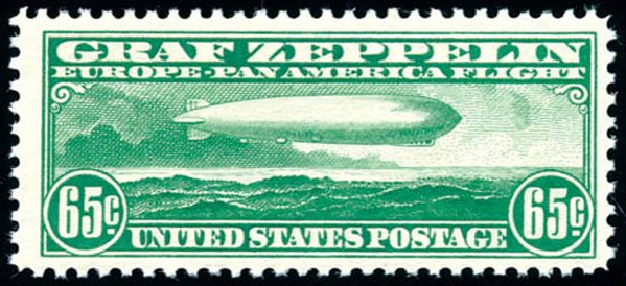 Prices of US Stamps Scott Cat. #C13: 65c 1930 Air Graf Zeppelin. Schuyler J. Rumsey Philatelic Auctions, Apr 2015, Sale 60, Lot 2479