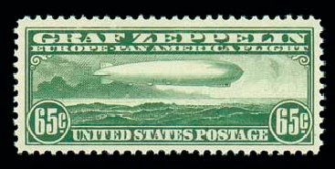 Values of US Stamps Scott Catalog C13: 1930 65c Air Graf Zeppelin. Matthew Bennett International, Dec 2007, Sale 325, Lot 2360