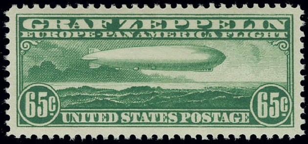 Price of US Stamp Scott C13: 1930 65c Air Graf Zeppelin. Matthew Bennett International, Jun 2008, Sale 328, Lot 1120