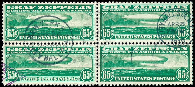 Prices of US Stamps Scott #C13 - 65c 1930 Air Graf Zeppelin. Schuyler J. Rumsey Philatelic Auctions, Apr 2015, Sale 60, Lot 2480