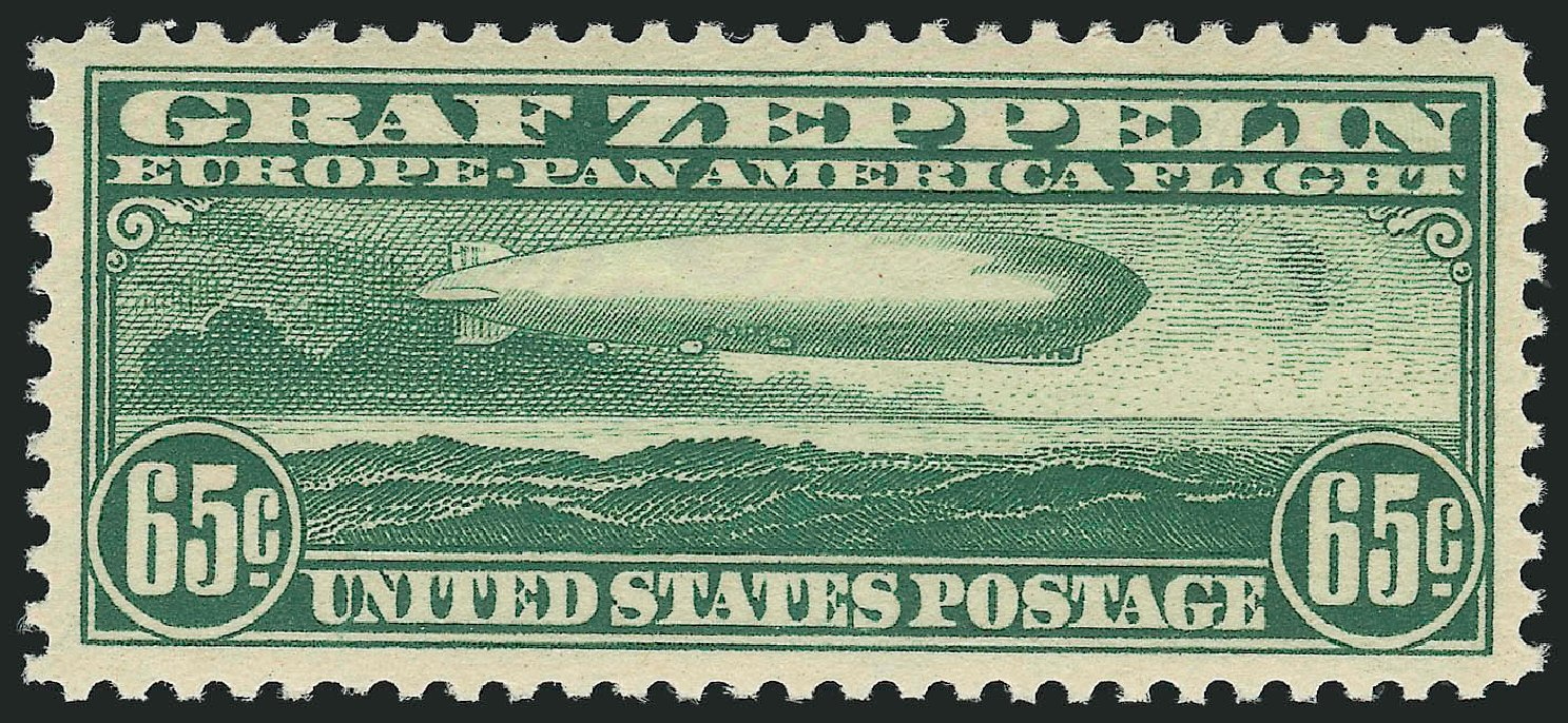 US Stamps Values Scott Catalog # C13: 1930 65c Air Graf Zeppelin. Robert Siegel Auction Galleries, Dec 2014, Sale 1090, Lot 1610