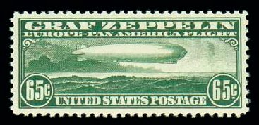 Values of US Stamps Scott Cat. # C13 - 1930 65c Air Graf Zeppelin. Matthew Bennett International, Dec 2007, Sale 325, Lot 2361