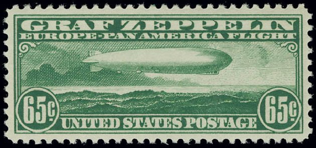 Prices of US Stamps Scott Catalog #C13: 1930 65c Air Graf Zeppelin. Matthew Bennett International, Jun 2008, Sale 328, Lot 1121