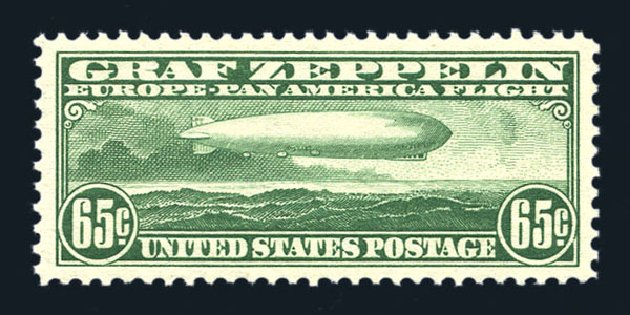US Stamp Values Scott Catalog C13: 1930 65c Air Graf Zeppelin. Harmer-Schau Auction Galleries, Aug 2015, Sale 106, Lot 2041
