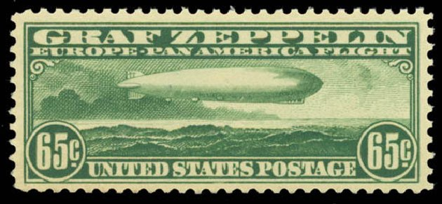 Values of US Stamp Scott Catalogue # C13 - 1930 65c Air Graf Zeppelin. Daniel Kelleher Auctions, Aug 2015, Sale 672, Lot 2891