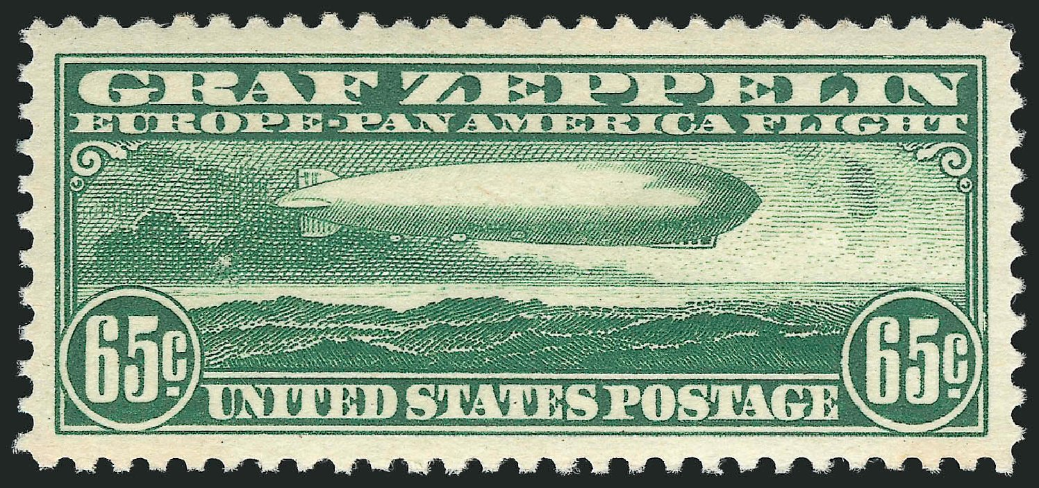 Values of US Stamps Scott C13: 65c 1930 Air Graf Zeppelin. Robert Siegel Auction Galleries, Dec 2014, Sale 1090, Lot 1611