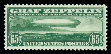 US Stamp Prices Scott Catalog C13: 1930 65c Air Graf Zeppelin. Matthew Bennett International, Jun 2007, Sale 319, Lot 1604