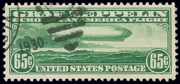 Values of US Stamps Scott Catalog C13 - 1930 65c Air Graf Zeppelin. Matthew Bennett International, Jun 2008, Sale 328, Lot 1124