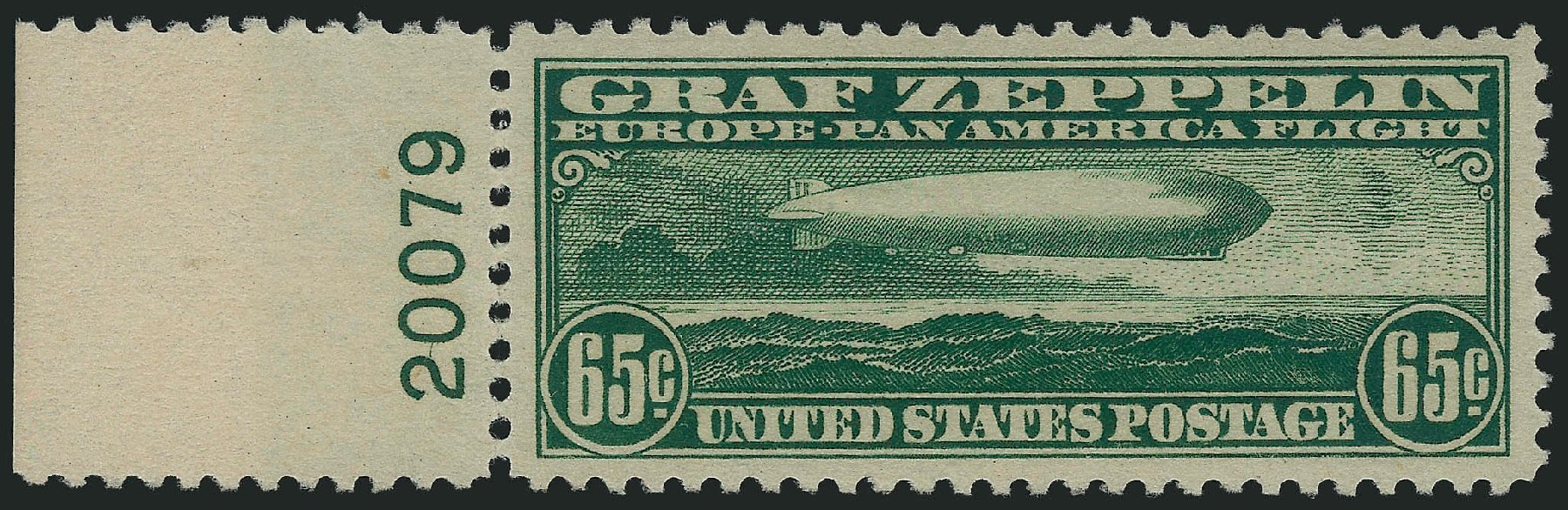 Values of US Stamps Scott Catalog #C13 - 65c 1930 Air Graf Zeppelin. Robert Siegel Auction Galleries, Feb 2015, Sale 1092, Lot 1414