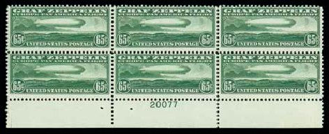US Stamps Value Scott Cat. #C13: 1930 65c Air Graf Zeppelin. Matthew Bennett International, Dec 2007, Sale 325, Lot 2365