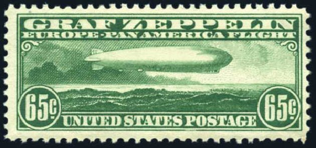 Value of US Stamps Scott #C13: 1930 65c Air Graf Zeppelin. Harmer-Schau Auction Galleries, Jun 2008, Sale 78, Lot 1715