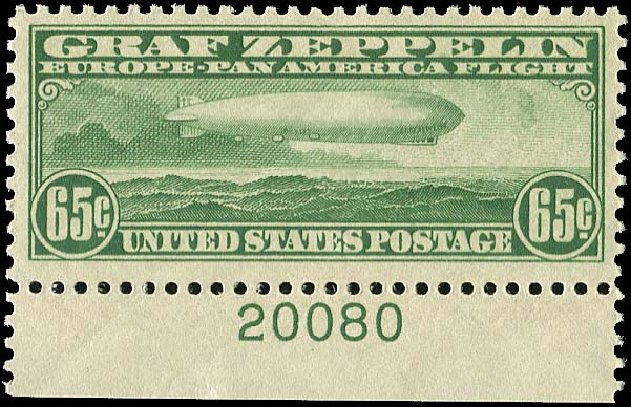 Value of US Stamps Scott Cat. C13 - 65c 1930 Air Graf Zeppelin. Regency-Superior, Jan 2015, Sale 109, Lot 1415