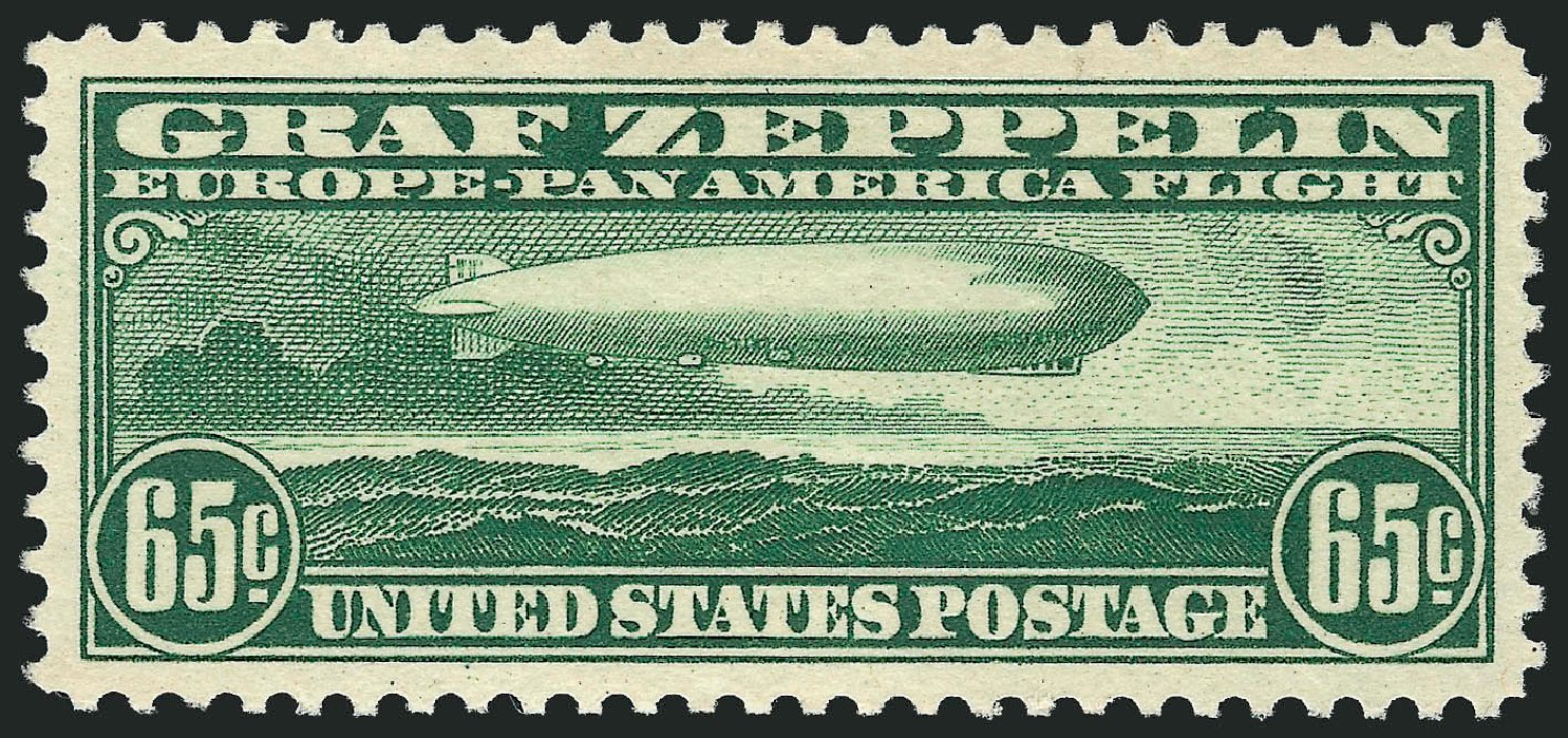 Cost of US Stamps Scott Catalogue C13: 65c 1930 Air Graf Zeppelin. Robert Siegel Auction Galleries, Sep 2008, Sale 962, Lot 2955