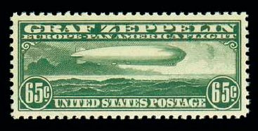 US Stamp Values Scott Cat. #C13: 65c 1930 Air Graf Zeppelin. Matthew Bennett International, Dec 2007, Sale 325, Lot 2362