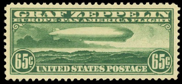Prices of US Stamp Scott Catalog #C13: 1930 65c Air Graf Zeppelin. Daniel Kelleher Auctions, Aug 2015, Sale 672, Lot 2892