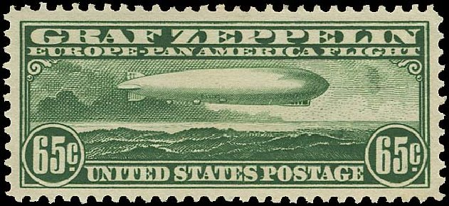 Value of US Stamp Scott C13 - 65c 1930 Air Graf Zeppelin. Regency-Superior, Aug 2015, Sale 112, Lot 1032