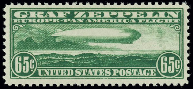Costs of US Stamps Scott Catalog # C13: 65c 1930 Air Graf Zeppelin. Matthew Bennett International, Jun 2008, Sale 328, Lot 1123