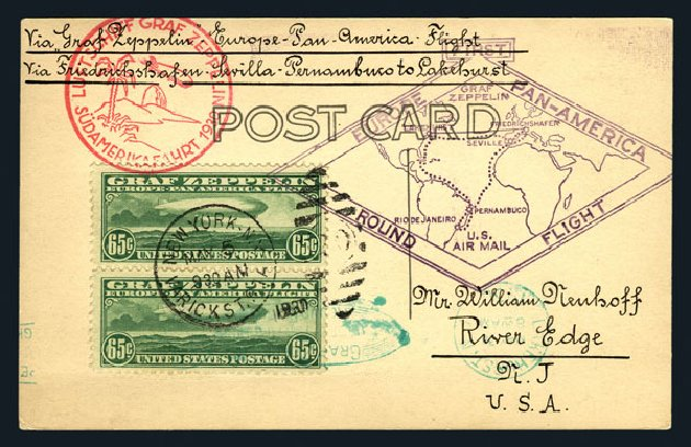US Stamp Values Scott Catalogue #C13: 65c 1930 Air Graf Zeppelin. Harmer-Schau Auction Galleries, Aug 2015, Sale 106, Lot 2043