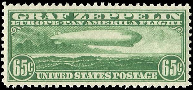 US Stamps Prices Scott Cat. #C13: 65c 1930 Air Graf Zeppelin. Regency-Superior, Jan 2015, Sale 109, Lot 1423
