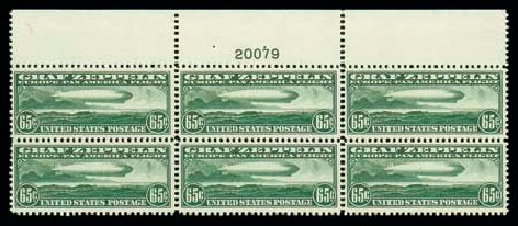Value of US Stamps Scott # C13 - 65c 1930 Air Graf Zeppelin. Matthew Bennett International, Jun 2007, Sale 319, Lot 1606