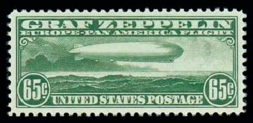 US Stamps Value Scott #C13: 65c 1930 Air Graf Zeppelin. Matthew Bennett International, Oct 2007, Sale 322, Lot 2276
