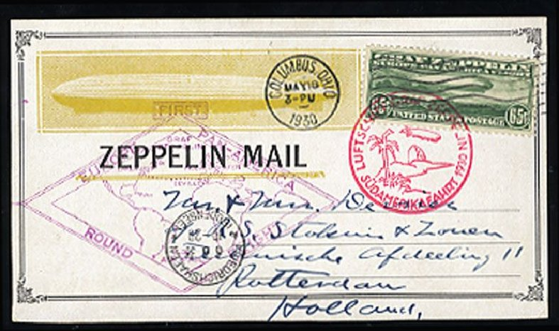 US Stamp Values Scott Catalog C13 - 1930 65c Air Graf Zeppelin. Cherrystone Auctions, Mar 2008, Sale 200803, Lot 346