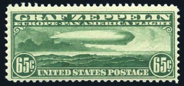 Price of US Stamps Scott Cat. # C13: 65c 1930 Air Graf Zeppelin. Harmer-Schau Auction Galleries, Jun 2008, Sale 78, Lot 1716