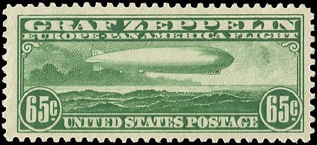 Cost of US Stamps Scott Cat. C13: 1930 65c Air Graf Zeppelin. Regency-Superior, Jan 2015, Sale 109, Lot 1416