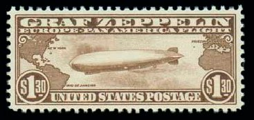 US Stamp Value Scott Catalog C14: US$1.30 1930 Air Graf Zeppelin. Matthew Bennett International, Dec 2007, Sale 325, Lot 2367