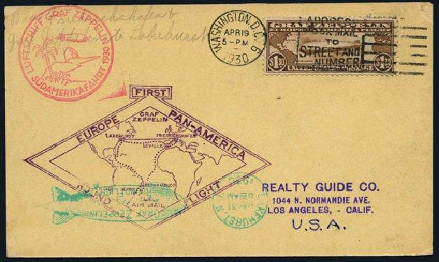 US Stamps Values Scott Catalogue C14 - US$1.30 1930 Air Graf Zeppelin. Harmer-Schau Auction Galleries, Nov 2014, Sale 103, Lot 167