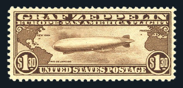 Costs of US Stamps Scott Catalogue #C14: 1930 US$1.30 Air Graf Zeppelin. Harmer-Schau Auction Galleries, Aug 2015, Sale 106, Lot 2047