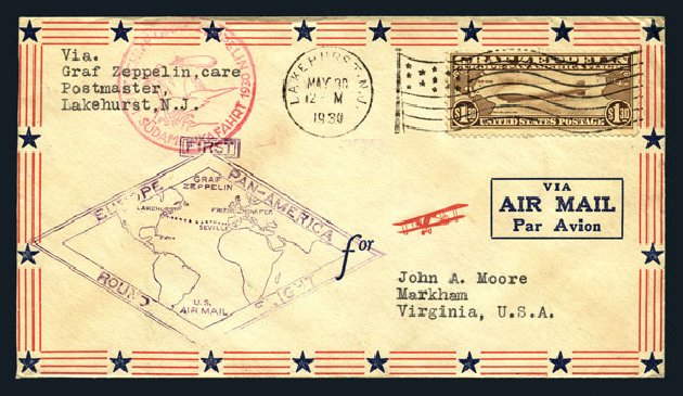 US Stamps Values Scott Cat. C14: US$1.30 1930 Air Graf Zeppelin. Harmer-Schau Auction Galleries, Aug 2015, Sale 106, Lot 2057