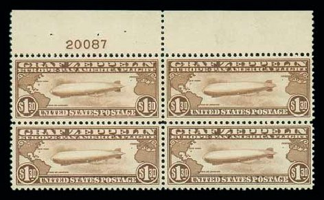 US Stamps Value Scott Cat. # C14: 1930 US$1.30 Air Graf Zeppelin. Matthew Bennett International, Jun 2007, Sale 319, Lot 1608