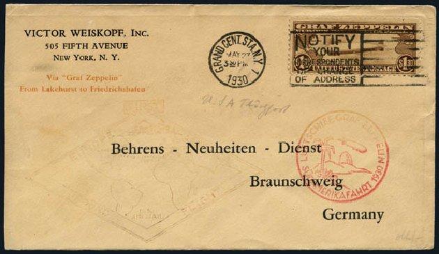 US Stamps Prices Scott #C14 - 1930 US$1.30 Air Graf Zeppelin. Harmer-Schau Auction Galleries, Nov 2014, Sale 103, Lot 168
