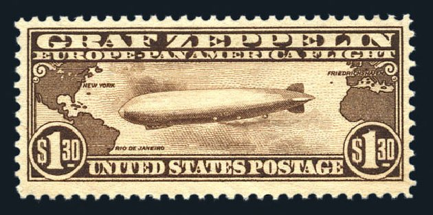 US Stamp Prices Scott Catalog # C14: 1930 US$1.30 Air Graf Zeppelin. Harmer-Schau Auction Galleries, Aug 2015, Sale 106, Lot 2048