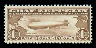 US Stamps Price Scott Catalog #C14 - US$1.30 1930 Air Graf Zeppelin. Matthew Bennett International, Dec 2007, Sale 325, Lot 2369