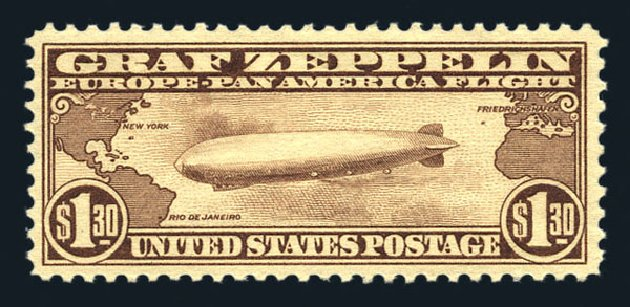 Price of US Stamps Scott Catalog C14 - 1930 US$1.30 Air Graf Zeppelin. Harmer-Schau Auction Galleries, Aug 2015, Sale 106, Lot 2049