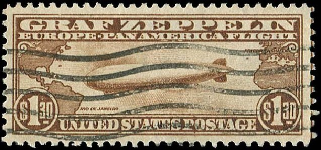 US Stamp Values Scott Cat. C14 - US$1.30 1930 Air Graf Zeppelin. Regency-Superior, Aug 2015, Sale 112, Lot 1039