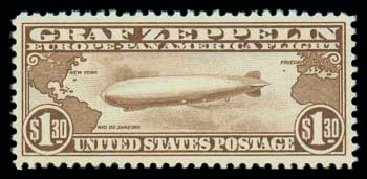 Price of US Stamp Scott Cat. #C14 - 1930 US$1.30 Air Graf Zeppelin. Matthew Bennett International, Oct 2007, Sale 322, Lot 2280