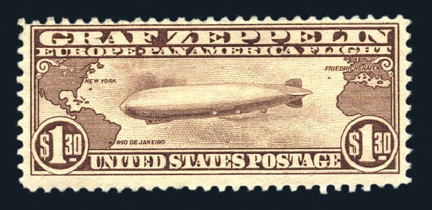 US Stamp Values Scott Catalogue # C14: 1930 US$1.30 Air Graf Zeppelin. Harmer-Schau Auction Galleries, Aug 2015, Sale 106, Lot 2050