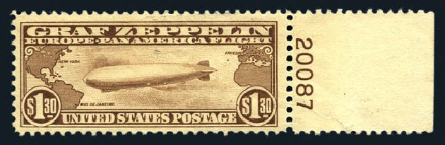 Prices of US Stamps Scott Catalog #C14 - 1930 US$1.30 Air Graf Zeppelin. Harmer-Schau Auction Galleries, Aug 2015, Sale 106, Lot 2051