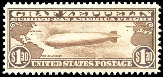 Price of US Stamps Scott Cat. # C14 - US$1.30 1930 Air Graf Zeppelin. Schuyler J. Rumsey Philatelic Auctions, Apr 2015, Sale 60, Lot 2481