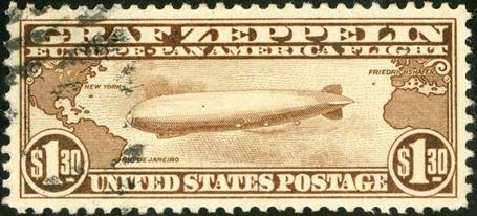 Prices of US Stamp Scott Cat. #C14: US$1.30 1930 Air Graf Zeppelin. Spink Shreves Galleries, Jan 2015, Sale 150, Lot 231