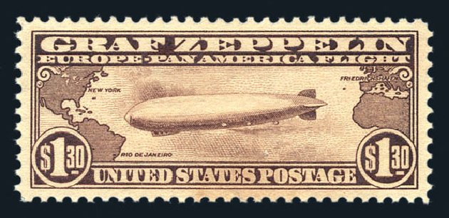Value of US Stamps Scott C14: 1930 US$1.30 Air Graf Zeppelin. Harmer-Schau Auction Galleries, Aug 2015, Sale 106, Lot 2045